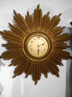 Novelty & Kitsch Clocks Early 1960s Sunburst Wall Timepiece image #1