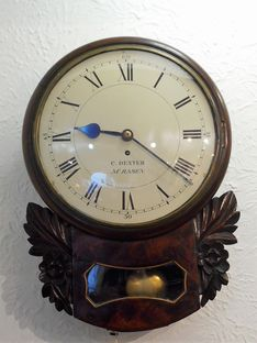 Wall  Clocks Circa 1830 Drop Dial Fusee Timepiece by Charles Dexter image #1