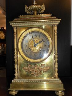 Mantel Clocks Circa 1875 French Brass Empire Strike image #1