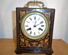 Mantel Clocks Late Victorian French Marquetry Strike Mantel Clock image #1