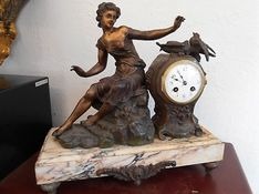 Mantel Clocks Circa 1880 French Striking Bronze Figure image #1