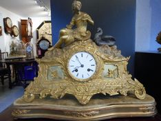 Mantel Clocks Classical Leda & Zeus French Ormolu Strike Circa 1860 image #1